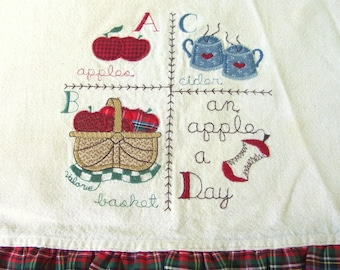 Vintage Apple Themed Bread Cover with Red Plaid Ruffle