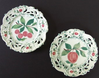 Vintage Hand Painted Fruit Plates from Italy