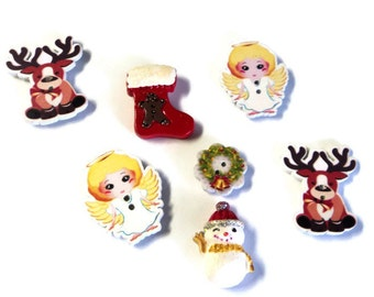 7 Christmas Magnets, Angels Reindeer Snowman Stocking Wreath, Handmade from Buttons Cabs CM6