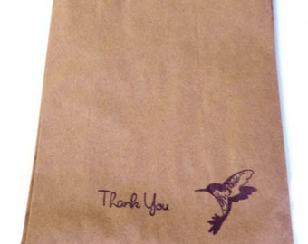 "10 Paper Bags,Gift Bags, Thank You, Hummingbird, Brown Kraft, 7.5"" x 5"", Packaging Supplies, Party Favor Bags"