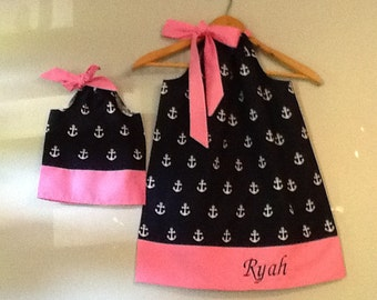 pillowcase dress  Navy and Pink MONOGRAMMED  dress matching America Girl Doll 3, 6, 9 12,18 month 2t,3t,4t, 5t,6,7,8,9,10,12