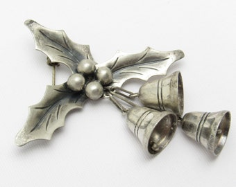 Taxco Sterling Mistletoe Brooch Bells Damasco Gallegos P7305
