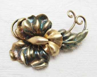 Vintage Brooch Gold Filled Floral Forties Jewelry P7023