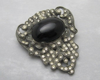 Vintage Rhinestone Brooch Reproduction Costume Jewelry P7040