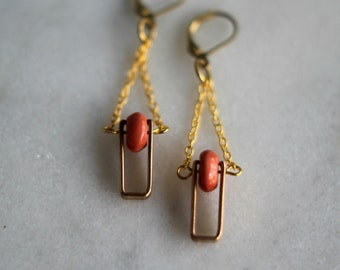Geometric Brass Earrings, Pink Rhodonite Dangles, Antiqued Brass, Vintage Connectors - Pink Gemstone, Spinner Earrings