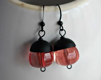 Rose Quartz Earrings, Black and Pink Dangles, Matte Black, Boho Bohemian