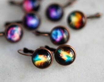 Galaxy Earrings, Celestial Dangles, Under 10