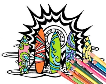 Surf Boards Coloring Page - Digital Download Beach Art - A Colorful World Suf & Sun by Alexine and Lori Goldwag - Beach Adult Coloring Book