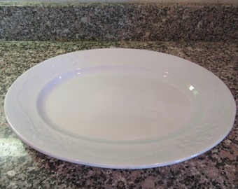 Early large white ironstone oval platter- nicely embossed design- Meakin Brothers, England- fine condition