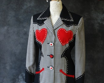 Vintage 1990's Moschino Cheap and Chic black and white gingham wool, red hearts jacket