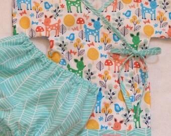 Baby Kimono - The Original LivvySue Kimono Bloomer Set - Forest print