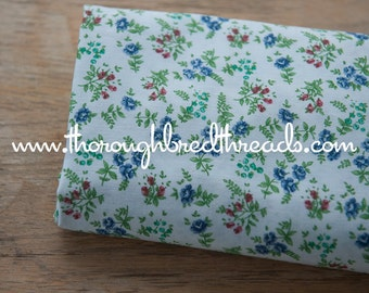 Little Blue Roses  - Vintage Fabric New Old Stock Sweet Cottage Look