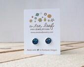 Blue Green Metallic Iridescent Opaque Druzy Earrings | Item No. ATL-E-157