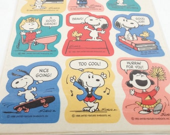 Vintage Snoopy Stickers -Assorted Peanuts Stickers Lot -4 sheets 1980 new never opened