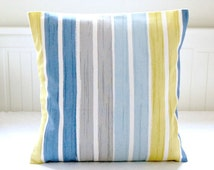 blue yellow gray stripe cushion cover 16 inch, striped decorative pillow cover