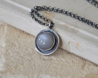 Grey Moonstone Necklace Sterling Silver