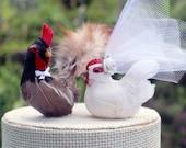 New Design! Barnyard Chicken Wedding Cake Topper: Farm Fancy Bride & Groom Love Bird Cake Topper -- LoveNesting Cake Toppers