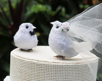 White Love Bird Wedding Cake Topper in Silver Tinsel: Vintage-y Bride & Bride
