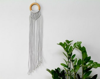 Mini Macrame Wall Hanging. Gray Macrame Nursery Decor. Bohemian Modern Wall Decor. Handmade by Ordinary Mommy Design