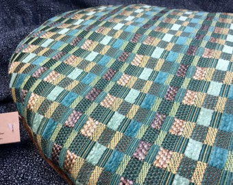 Cat Bed, Eco-Friendly, Wool Filled, Machine Washable, Small Dog Bed, Chenille Corduroy, Earthy Colors, Brown and Teal, Ready to Ship