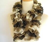 Ruffle Fashion Scarf Knit Crochet BrownTan Beige Earth Tones Sashay Yarn by AllKindsofArt