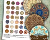 Printable Digital Collage Sheet - Mandalas - 1 inch Circles Images for Pendants, Glass Domes, Resin, Bezel Settings, Magnets, Digital Sheet
