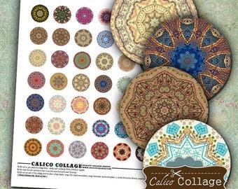 Mandalas, Digital Collage, Printable Circles, 1 Inch Circles, Bottle Cap Images, Images for Pendants, Printable Paper, Boho Collage Sheet