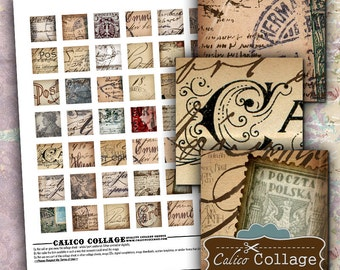 Vintage Postcard Handwriting - Collage Sheet - Postcard Images - Image Sheet - Calico Collage - DIY Jewelry - Resin Jewelry Supply