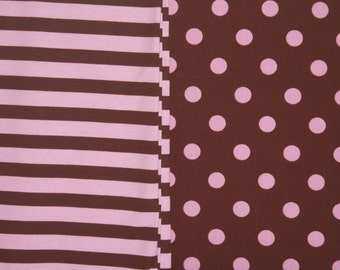Knit brown with pink dots and stripes knit spandex cotton 1 yard of each fabric duo NEW