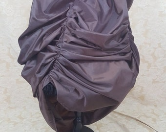 Dark Brown Fixed Bustle Full Length Graduated Front Bustle Skirt-One Size Fits All