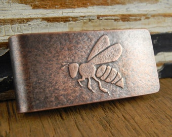 Honeybee money clip, bee money clip, copper handmade gifts for him, Fathers Day gift.