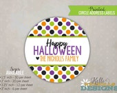 Polka Dot Happy Halloween Stickers, Personalized Trick or Treat Bag Tags, Halloween Labels