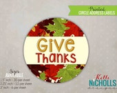 Give Thanks Stickers, Thanksgiving Party Treat Bag Tags, Fall Labels