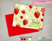 Custom Strawberry Berry Thank You Cards, Folding Shower Thank You Notes #S121