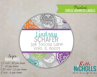 Colorful Paisley Circle Return Address Labels, Custom Wedding Shower Stickers