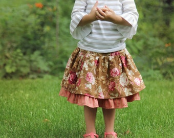 Rose Collection Ruffle Skirt by Red Wagon Kids Twirly Skirt Floral Fall 2016 Back to School Thanksgiving