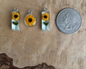 RESERVE - REAL flower pendant - Miniature sunflower