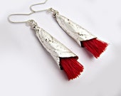 Elegant Long Silver Dangles wit red accent, Contemporary Jewelry Design