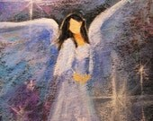 "ACEO Commissioned Acrylic Painting of YOUR Guardian Angel 2.5""x3.5""  Intuitively painted"