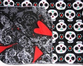 Reversible Blanket - Sugar Skull Blanket - Skull Baby - Heart Blanket - Baby Blanket - Stroller Blanket - Flannel Blanket - Nursery Blanket