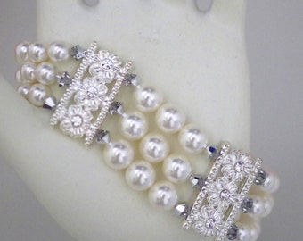 Swarovski Pearl & Crystal Bridal Jewelry - Bracelet - Any Pearl Color - Any Crystal Color - Triple Strand