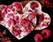 VALENTINE SALE 4 raw valentine chocolates with coconut, raspberries and rose petals NO Nuts