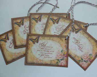 Christian faith gift tags religious tags inspirational message Bible verse tags vintage style handstamped  butterflies pink roses - set of 6