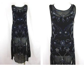 Vintage 90s Reproduction Hand Beaded Flapper Dress, Sz S