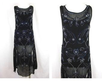 Vintage 90s Reproduction Hand Beaded Flapper Dress, Sz S