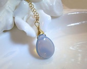 Milky Alexandrite Necklace, Gemstone, Gold Filled Chain, Gorgeous Blue, June Birthday Birthstone, Wire Wrapped, Handmade