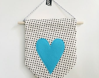 Skinny Heart Felt Banner *LIGHT BLUE*, felt banner, wall banner, pennant, wall decor, wall hanging, nursery decor, heart decor, valentine