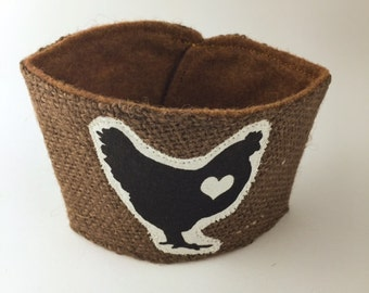 Chicken Love Coffee/Beer Cozy with Gift Card Holder Option