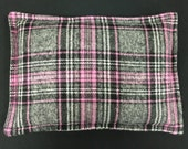 Heating Pad Corn Bag, Flannel Heat Pack, Microwavable Heating Pad, Massage Therapy, Hostess Gift, Gift for Her - Gray Pink Plaid Flannel