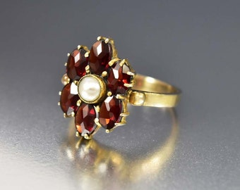 Antique Garnet Ring, Edwardian Pearl Ring, Silver Gold Ring, Love Token Ring, Antique Jewelry, Antique Engagement Ring, Antique Edwardian